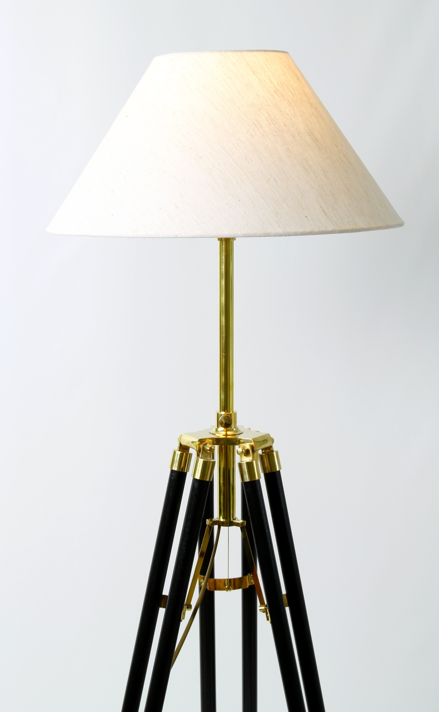 stehlampe kolonialstil in wenge dreibein stativ holz messing 146 cm schirm 35 cm ebay. Black Bedroom Furniture Sets. Home Design Ideas